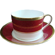 Coalport Cup and Saucer - &quot;Athlone&quot; pattern Ruby Marone