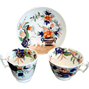 Georgian Regency Tea Cup Coffee Cup and Saucer Trio c1820 Hand Painted Imari Palette
