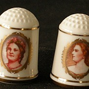 Two First Ladies Bone China Thimbles Mary Todd Lincoln & Harriet Lane