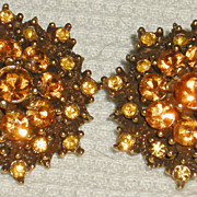 Hollycraft Vintage Gold Tone and Amber Rhinestone Earrings
