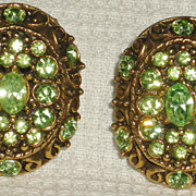 Hollycraft Vintage Lime Green Rhinestone Oval Earrings