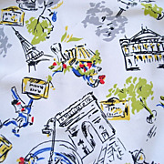 Vintage Novelty Paris France French Print Fabric, 2+ Yds