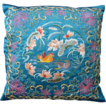 Vintage Asian Chinese Figural Embroidered Couched Bullion Pillow