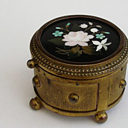 Antique Florentine Italian Pietra Dura Micro Mosaic Box w/ Original Shop Label