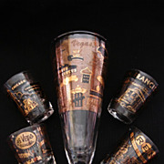 Mid-Century Souvenir Shot Glass Barware Set, Vintage Vegas Reno Chicago San Francisco