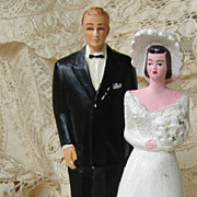 SOLD Vintage Southern Belle Chalkware Wedding Cake Toppers, Bride & Groom, 1950s