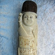 SOLD Japanese Carved Ivory Okimono Man in Ceremonial Dress