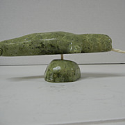 SALE Inuit Eskimo Green Stone Carving of a Narwhale with an Ivory Tusk