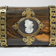 Georgian Double  Tea Caddy with Fabulous  Carved Cameo and Brass Trim