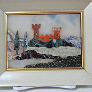 Italian Grand Tour Pietra Dura Plaque Castle in Landscape