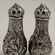 Repousse Salt Pepper Shakers Greenwood Norfolk Virginia 1880 Sterling Silver
