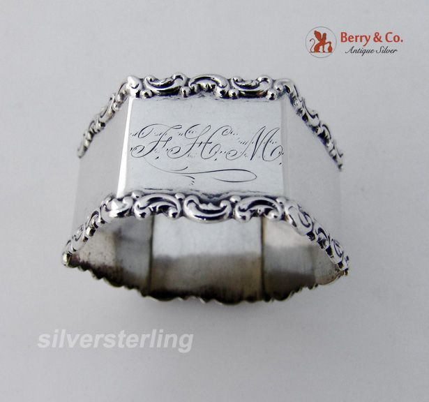 Baroque Scroll Hexagonal Napkin RIng International Sterling SIlver 1900