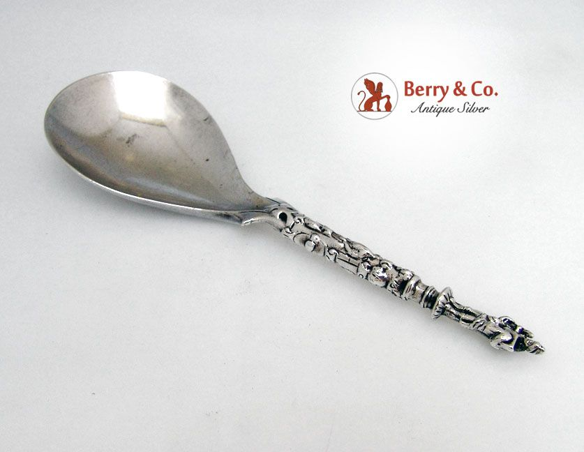 Apostle Spoon Pear Bowl Early Unmarked Sterling Silver