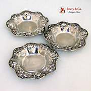Art Nouveau Nut Dishes 3 Floral Gorham 1910 Sterling Silver No Monograms