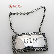 Gin Bottle Tag Stieff Williamsburg Sterling Silver 1950