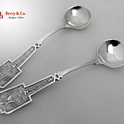 SALE Gothic Ivy Salt Spoons 1865 Sterling Silver Monogram LP