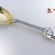 SALE Christmas Spoon A. Michelsen Sterling Silver Enamel 1938 Snow Berries