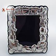 SALE Sterling Silver Figural Baby Picture Frame
