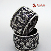 SALE Pair of Huge Sterling Silver Repousse Napkin Rings