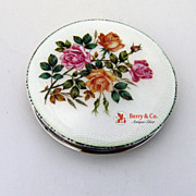 SALE Enamel Rose Compact Mappin Webb Sterling Silver 1937