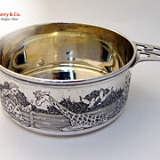Etched Circus  Porringer Morss Sterling Silver 1930