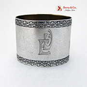 Napkin Ring Embossed Decorations LAtvian 875 Standard Silver  1930