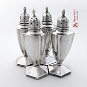 Chinese Export Yuchang 4 Salt and Pepper Shakers Sterling Silver