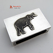 Sterling Silver Elephant Match Safe Cover
