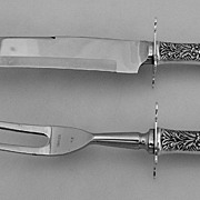 Repousse Carving Set Kirk Large Knife Fork Sterling Guards