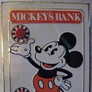 1968 Mickey Mouse Fricke and Nacke Tin Lithograph Combination Bank