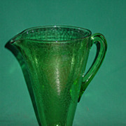 1930�s Green Depression Glass Pitcher Jeanette Crackle Glass Art Deco