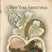 SALE 1910 Embossed New Year Greetings Postcard Horseshoe Four Leaf Clover