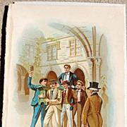 Antique Chromo -Lithograph Print From Tom Brown School Days