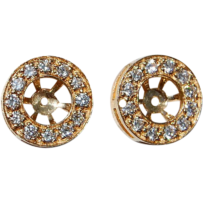 Vintage 14K Gold & Diamond Earring Jackets
