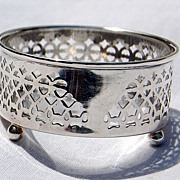 Vintage Sterling Silver Cutwork Footed Master Salt