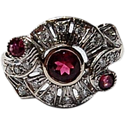 SALE Vintage 14K White Gold Diamond and Pink Tourmaline Ring