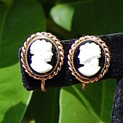 Vintage Costume Cameo Screw Back Earrings