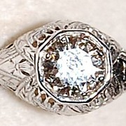 REDUCED Classic Art Deco Belais Brothers 18K White Gold Diamond Filigree Engagement Ring