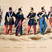 French Military Lithograph Veterans De L' Armee