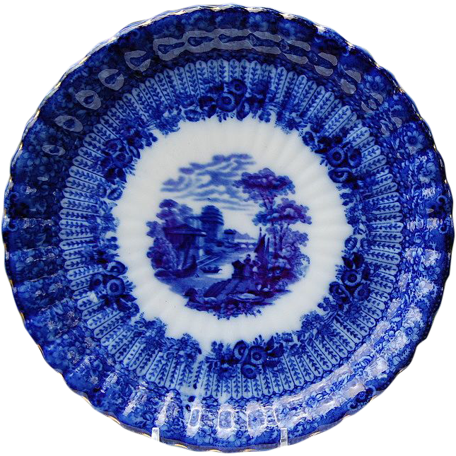 "Wonderful 9"" Flo Blue Scalloped Edge Plate"