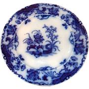English 19th Century Flo Blue 10 1/4&quot; Plate &quot;CARLTON
