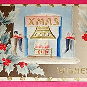 SALE Embossed 1910 Xmas Wishes
