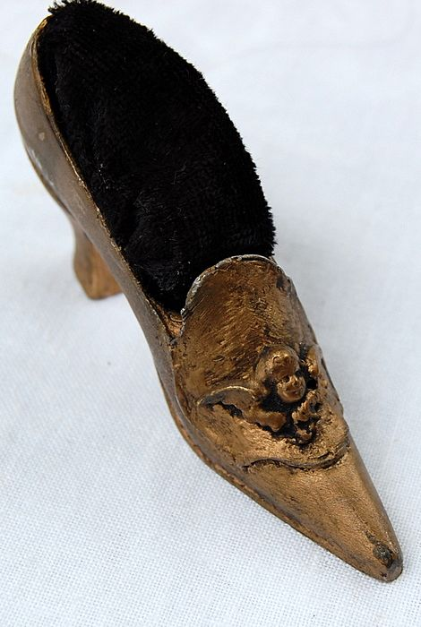 Victorian Figural Shoe Pin Cushion With Cherub