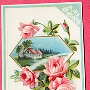 SALE Embossed Beautiful Pink Rose Floral With Fond Love Post Card