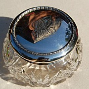 Vintage Birks Sterling Silver Top  Cut Crystal Dresser Jar