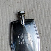 Art Deco Silver Tone Metal Scent Flask With Dipper