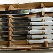 Vintage English Seven Piece Dessert Knife Set In Original Box