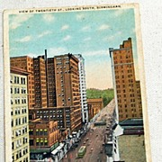 SALE 1919 Vintage Postcard View Of Twentieth St. Birmingham