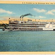 SALE Vintage S. S. President  On The Mississippi River Postcard