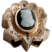 Large Victorian Gold Filled Enamel Cameo Slide